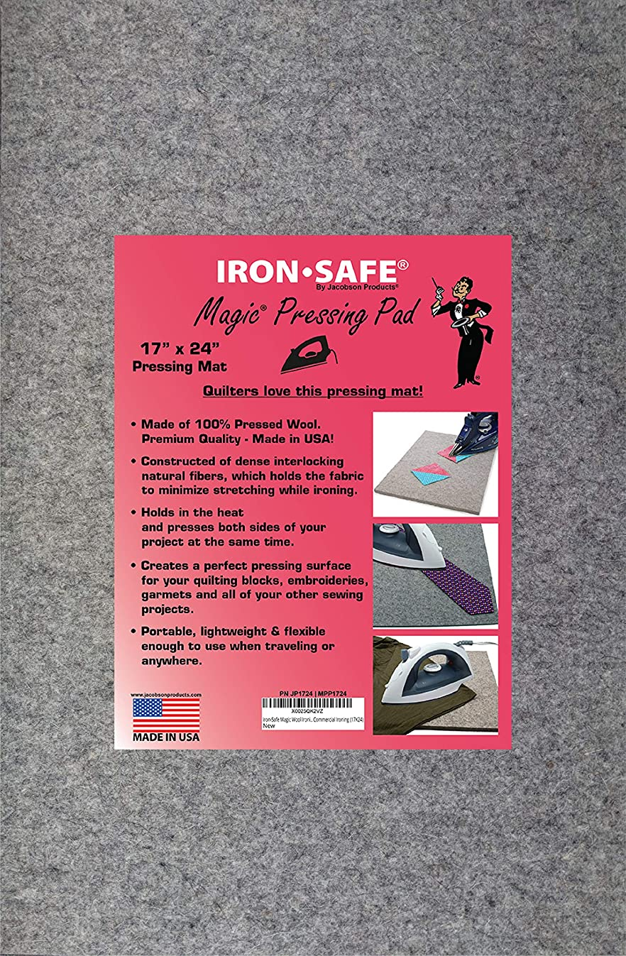 Jacobson Products Iron-Safe Premium Ironing Accessories - Top Hat Premium Non-Stick Sole Plate and Wool Pressing Mats (17 x 24 Wool Pad)