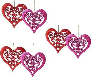Glitter Love Heart Cutout Hanging Valentine Decoration - Set of 6