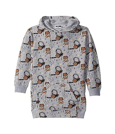 Moschino Kids Hooded Dress w/ Music Toy Bear Print (Little Kids/Big Kids) (Grey) Girl