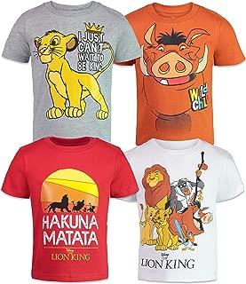 Disney Lion King Boys' 4 Pack T-Shirts: Simba Timon Pumbaa Zazu Nala