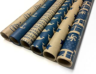 Note Card Cafe Kraft Birthday Wrapping Paper | Blue, 6 Pack | 30 x 120 inch Rolls | Modern Design | for Birthdays, Weddings, Baby Showers, Gifts, Holidays, Christmas | Recyclable, Biodegradable
