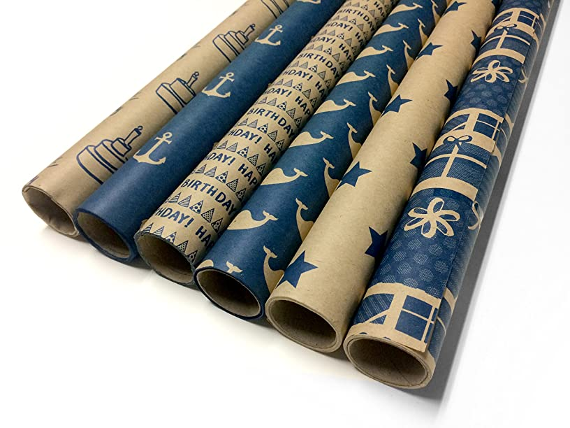 Kraft and Blue Wrapping Paper Set - 6 Rolls - 6 Birthday Patterns - 30
