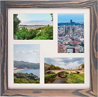 Rustic Wooden Square Collage Photo Frame 12x12 inch – Made to Display Four (4) 4x6 inch Pictures with Mat for Wall Hanging - Grey
