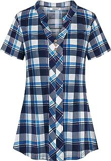 Helloacc Womens Notch V Neck Short Sleeve Plaid Shirts Button Pleated Tunic Tops
