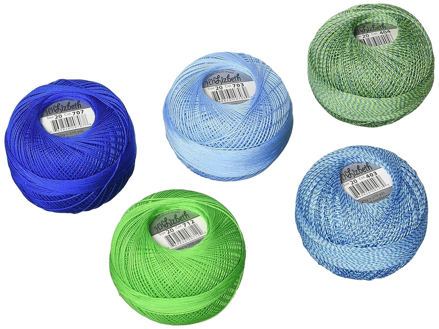 Handy Hands DPN-7221 Lizbeth Specialty Pack Cordonnet Cotton (5 Pack), Size 20, Lagoon Mix, Multicolor