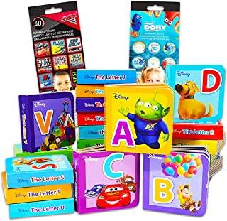 Disney Animal ABC Board Books for Toddlers Ages 1-3 Years ~ Pack of 24 My First Mini Book Blocks Board Books with Stickers...