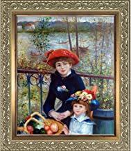 overstockArt La Pastiche Two Sisters On The Terrace, by Renoir Hand Painted Oil with Rococo Silver and Burnished Gold Stacked Frames