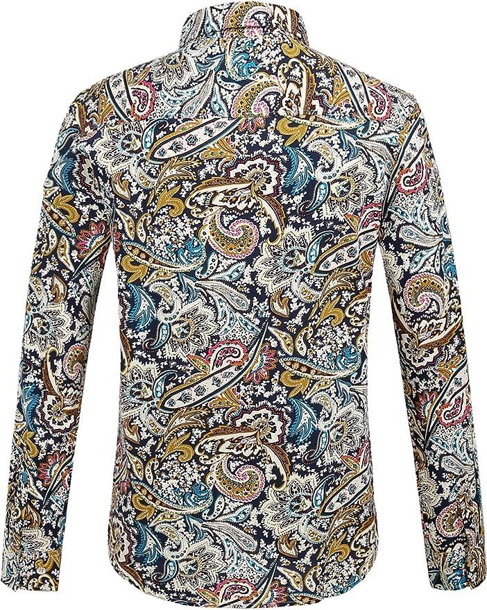 SSLR Camisa de Manga Larga para Hombre, Estampado de Cachemira, de algodón, Corte Normal, de Manga Larga, fácil de Planchar