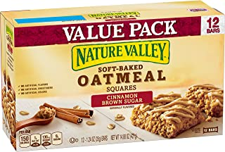 Nature Valley Soft-Baked Oatmeal Squares, Cinnamon Brown Sugar Bars, 12 Count
