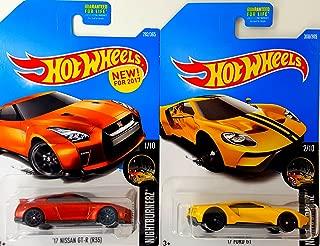Hot Wheels '17 Ford GT Yellow and '17 Nissan GT-R (R35) NightBurnerz 2 Car Bundle Set