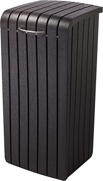 Keter Copenhagen 30 Gallon Resin Wood Style Outdoor Trash Can Waste Bin With Removable Rim