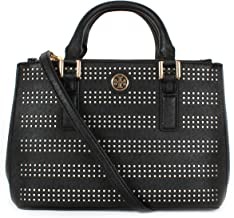 Tory burch Robinson Perf Micro Double Zip Tote in Carnation Black/Birch