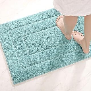 バスマット お風呂マット 玄関マット 吸水マット 速乾 丸洗い ふわふわ マイクロファイバー 浴室 洗面所 キッチン 水色 40x60cm