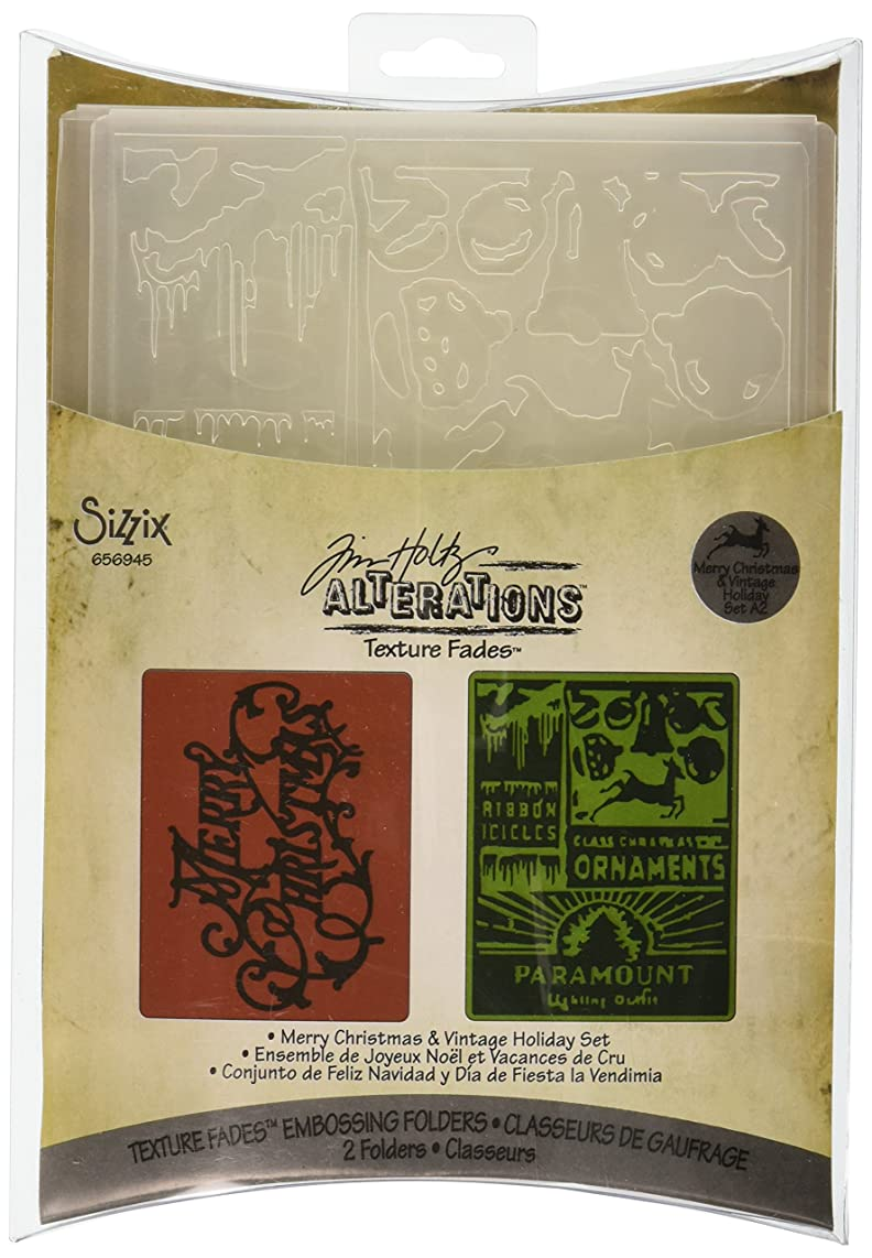 Sizzix Texture Fades Embossing Folders 2PK - Merry Christmas & Vintage Holiday Set by Tim Holtz