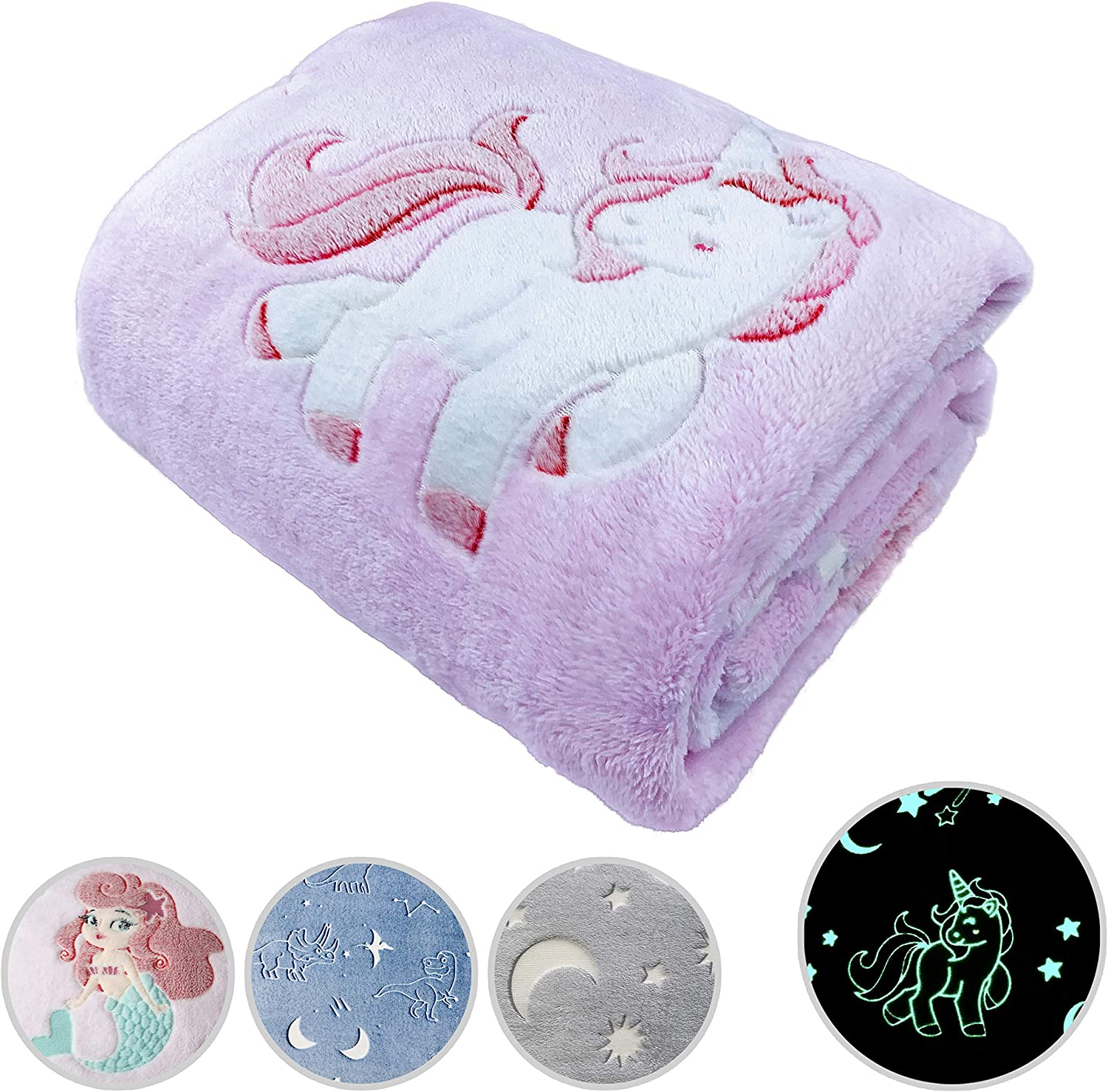 Glow in The Dark Throw Blanket Max 55% OFF Unicorn Gifts Personalized Pink Bargain sale f