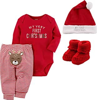 Baby My First Christmas 4 Piece Set with Hat and Booties Unisex