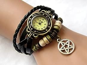 Joyplancraft Supernatural Amulet Wrist Watch Black Leather Wrist Watch with Silvery Pentagram Charm Bracelet