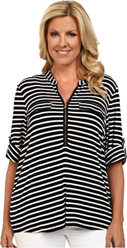Calvin Klein Plus - Plus Size Zip Front Roll Sleeve Top
