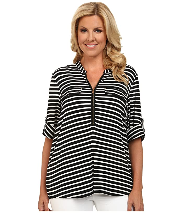 Plus Size Zip Front Roll Sleeve Top (Black/Birch) Women's Long Sleeve Pullover