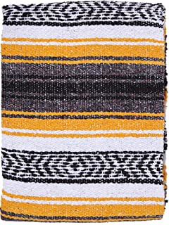 El Paso Designs Mexican Yoga Blanket Colorful 51in x 74in Studio Mexican Falsa Blanket Ideal for Yoga, Camping, Picnic, Beach Blanket, Bedding, Home Decor Soft Woven (Yellow)