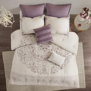 Madison Park Elise Comforter Reversible Cotton Percale Flower Floral Botanical Medallion Stripes Printed Soft Overfilled Down Alternative Hypoallergenic All Season Bedding-Set, Queen, Purple