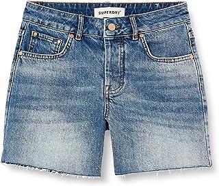 Superdry Denim Mid Length Short Pantalones Cortos para Mujer
