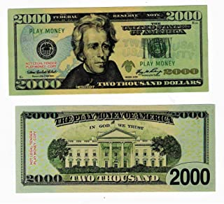 Custom Toys & Hobbies 10X $2000 Bills Prop Money/Fake/Play. NOT Legal Tender Size 2.25x5.25 in. Copy
