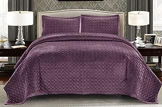 Wonder Home 3 Pieces Tiberius Purple Velvet King Size Quilt Set - Q92679PUK