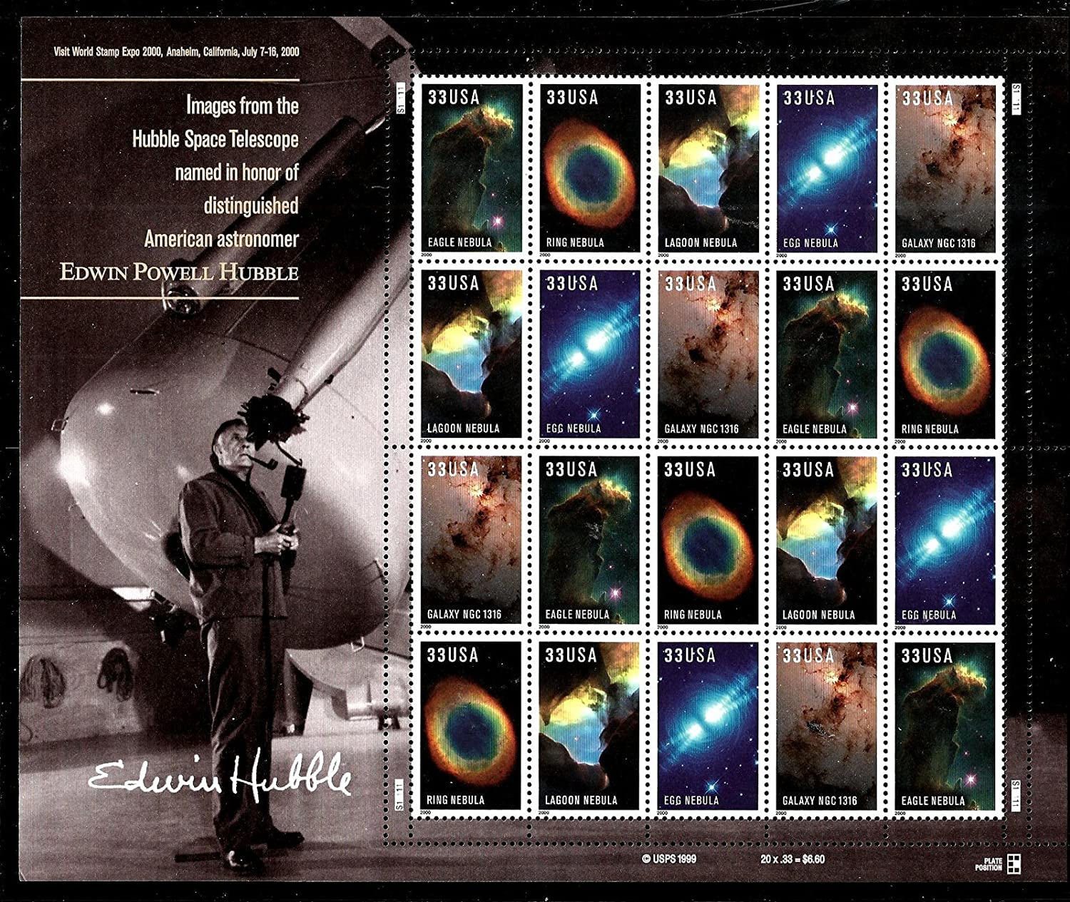 2000 HUBBLE IMAGES  3388a Pane of 20 x 33 cents US Postage Stamps