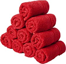 Homely 100% Cotton 10 Piece Face Towel Set, 30 x 30 cm, 400 GSM, Red