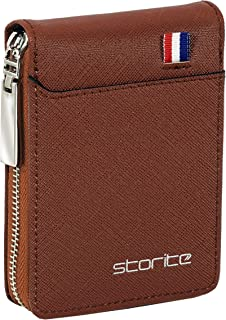 Storite Imported 9 Slot Vertical Leather Credit/Debit Zipper Card Holder Money Wallet Zipper Coin Purse for Men & Women – Light Brown