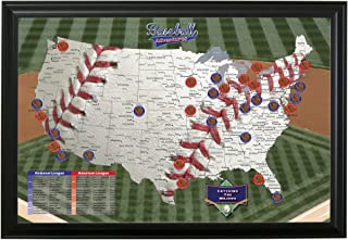 Push Pin Travel Maps Baseball Adventures with Black Frame and Pins - 27.5 inches x 39.5 inches