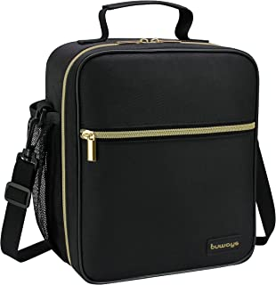 buways Lunch Box, Insulated Lunch Bag for Men, Adults, Women, Durable & Spacious Lunchbox for Work, Picnic, Hiking - 25% Larger Greater Storage (Black)