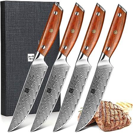 XINZUO Acier Damas Set de 4 Couteaux à Steak,12.7cm Couteaux de Tables Premium Couteau Viande de Table Couteaux de Cuisine, Coffret Cadeau Exquis, Triple Rivet -Rosewood Poignée Ergonomique- Série Yi