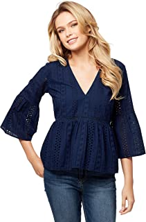 Jessica Simpson Women's Habsburg Pretty Eyelet Tiered Top