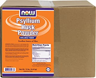 NOW Supplements, Psyllium Husk Powder, Non-GMO Project Verified, Soluble Fiber, 12-Pound