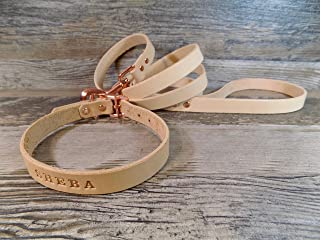 Handmade Personalized Natural Veg Tan Leather Dog Collar with Rose Gold -tone Hardware and FREE Engraved Name, Choose Your Font and Matching Leash