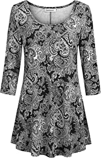 Nandashe Womens 3/4 Sleeves Floral Tunic Shirts Summer Casual Dressy Blouse Tops