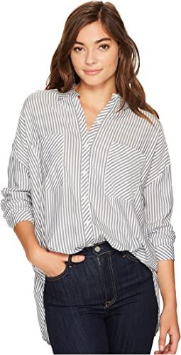 1.STATE - Long Sleeve Patch Pocket High-Low Blouse