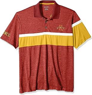 NCAA Iowa State Cyclones Mens NCAA Men's Short Sleeve Striped Polo Collared Teechampion NCAA Men's Short Sleeve Striped Polo Collared Tee, True Cardinal, Small