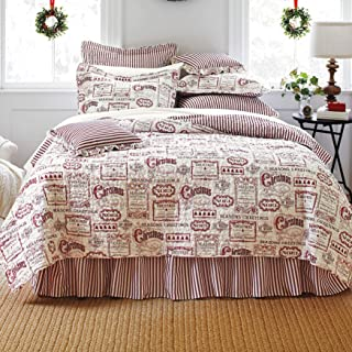 BrylaneHome Vintage Christmas 4-Pc. Quilt Set - Ivory Red, King