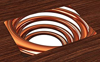 Ambesonne Abstract Place Mats Set of 4, Helix Coil Curved Spiral Pipe Swirled Shape on White Backdrop Print, Washable Fabric Placemats for Dining Room Kitchen Table Decor, Dark Orange and White