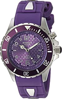 KYBOE! Power Stainless Steel Quartz Watch with Silicone Strap, Purple, 20 (Model: KY.40-040.15