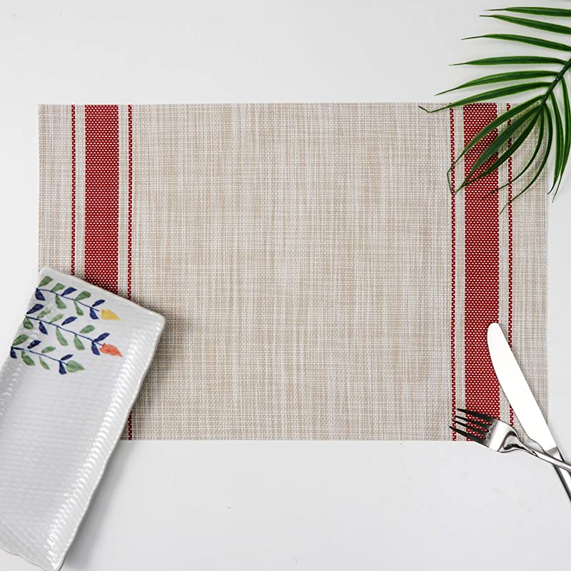 Millie Home Placemats For Dining Table Vinyl Heat Resistant Wipeable Placemat Non Slip Washable PVC Kitchen Place Mats Set Of 6 Red Stripe