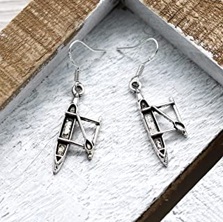 Kayak Earrings for Women - 925 Sterling Silver Hooks - Kayaking Jewelry - Outdoors Themed Gifts - Fast Shipping