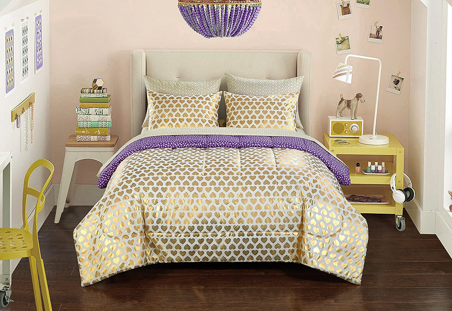 Pop Shop gold Hearts Bed in a Bag, Twin, 6 Piece