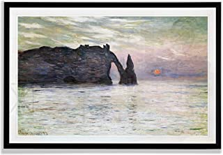 Monet Wall Art Collection The The Manneport, Cliff at Etretat, Sunset, 1883 Fine Giclee Prints Wall Art in Premium Quality Framed Ready to Hang 20X28, Black