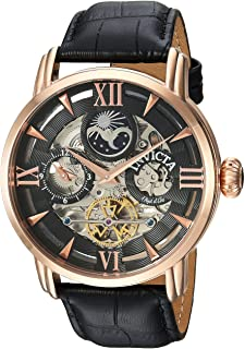 Invicta Men's Objet d'Art Stainless Steel Automatic-self-Wind Watch with Leather-Calfskin Strap, Black, 24 (Model: 22653