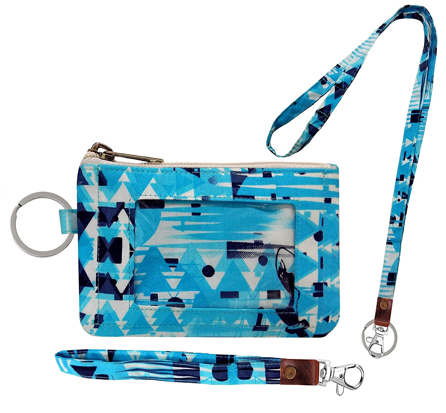 Zip ID Case, Lanyard & Wrist-let/Key Wallet/Credit Card Case Coins Purse with ID Window, Lanyard & Wrist-let/Cute ID Holder/Badge Clips