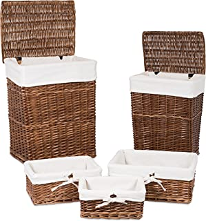 BIRDROCK HOME Woven Willow Baskets with Liner - Set of 5 - Rectangular Hampers and Storage Bins with Lids - Decorative Wooden Wicker Baskets - Organizer - Natural (Brown)